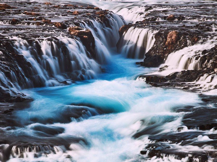 small waterfalls creating a river