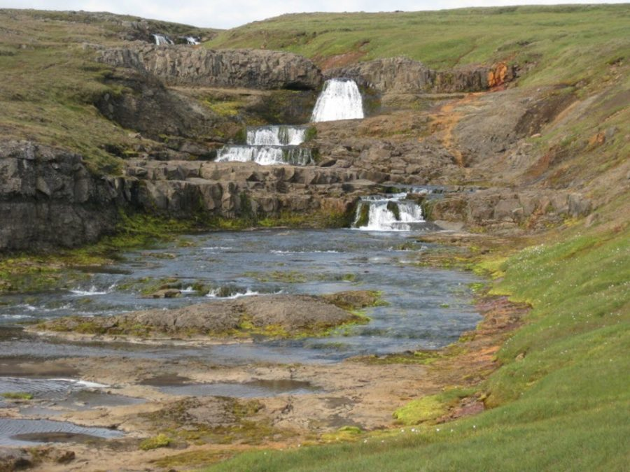 Small gental waterfall Iceland
