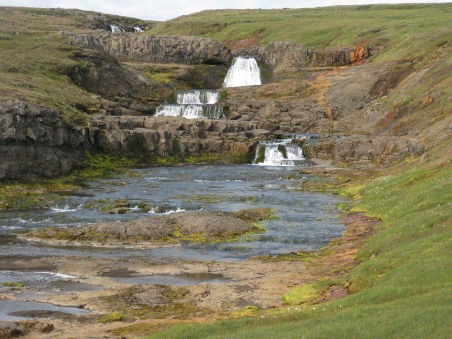 Small gental waterfall Iceland