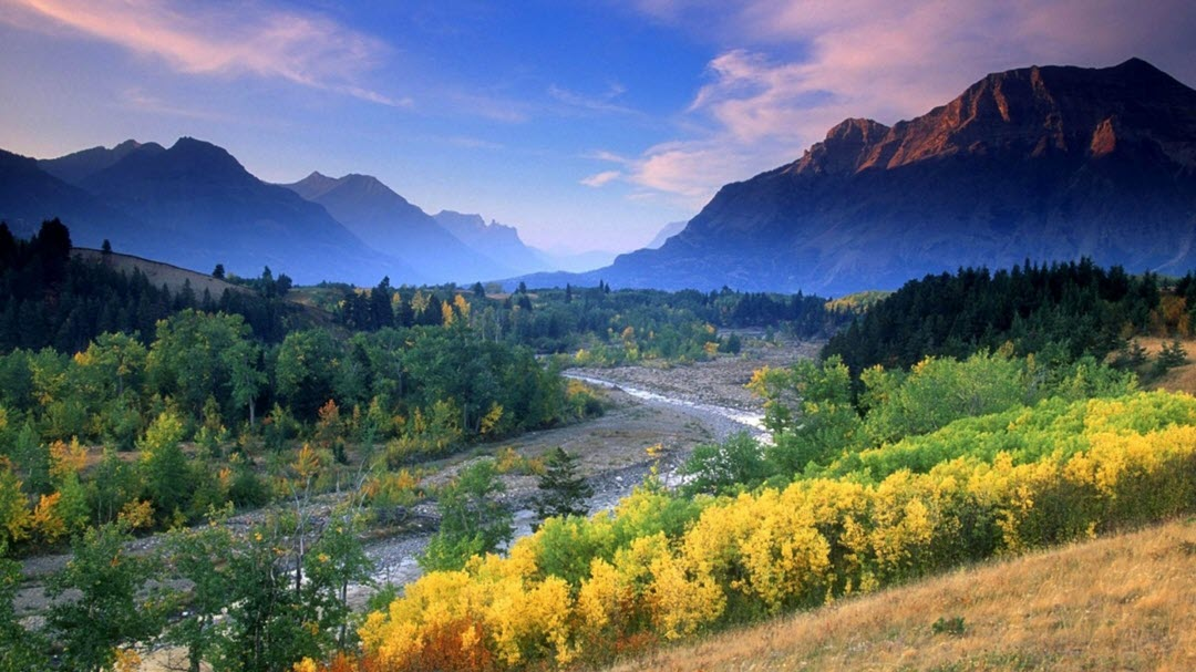 Canada mountain and valley in the fall landscape