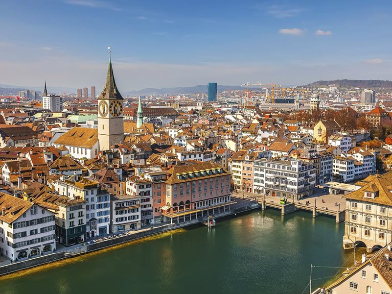 Zurich Switzerland aerial view