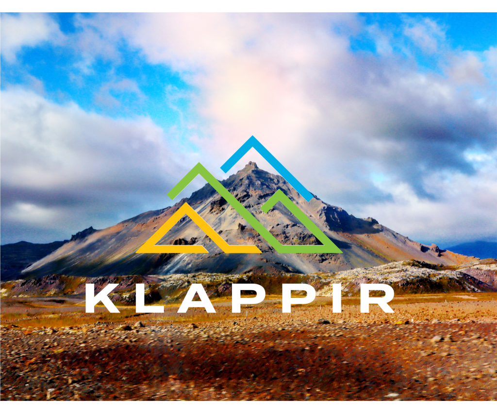 Klappir logo over a mountain in iceland
